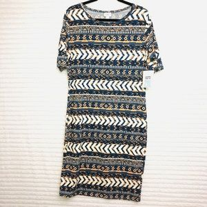LuLaRoe Julia Blue Geometric Print Dress